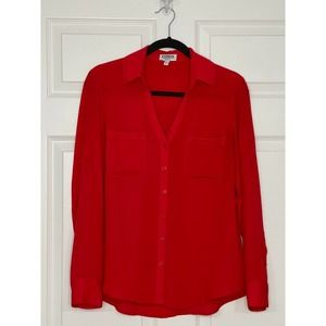 Express Red Button Up Blouse Size Small